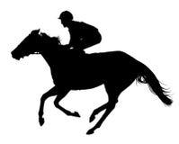 Sehr ausführlicher Vektor eines Jockeys und des Pferds Lizenzfreie Stockbilder