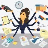 Sehr beschäftigte Geschäftsfrau Stockbild