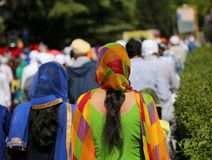 Sehr bunter Schleier einer Sikhfrau stockbilder
