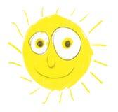 Sehr dumme Sonne mit großen Augen stock abbildung
