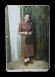 Weinlesephotographie der jungen Frau Lizenzfreies Stockbild