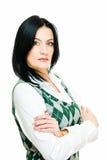 Sehr ernste hübsche Geschäftsfrau Stockfotos