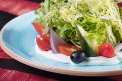 Sehr geschmackvoller Gemüsesalat Der Grüns, gesunden und gesunden Lebensmittel der Vitamine, Sehr geschmackvoller Gemüsesalat mit lizenzfreie stockfotos