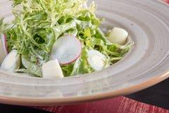 Sehr geschmackvoller Gemüsesalat Der Grüns, gesunden und gesunden Lebensmittel der Vitamine, Sehr geschmackvoller Gemüsesalat mit lizenzfreie stockfotografie