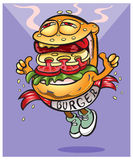 Sehr geschmackvoller, netter Hamburger geht zu Ihnen Stockbilder