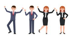 Sehr glückliche Geschäftsmann- und Geschäftsfrauzeichentrickfilm-figur Vector Illustration des lächelnden Mannes und der Frau in  vektor abbildung