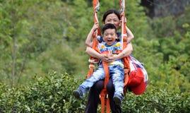 Sehr glückliche Mutter und Sohn Stockfoto