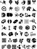 Sehr große Ansammlung Schwarzweiss-Ikonen und Zeichen Stockfotos