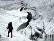 Sehr große Gletschergletscherspalte. Lizenzfreie Stockfotografie