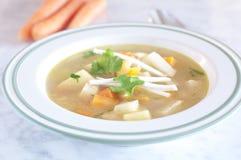 Sehr gute Suppe des Knollenselleries, der Karotten und der Kartoffeln Lizenzfreies Stockbild