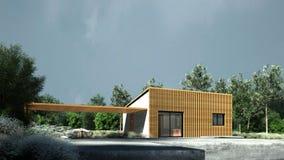 Sehr Kleines Modernes Haus In Der Natur Stockfoto