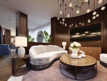 Sehr luxuriöser Sitzbereich in einem modernen Hotel Weißes Designersofa mit Latten auf der Wand mit einem Fernsehen Seitentabelle vektor abbildung