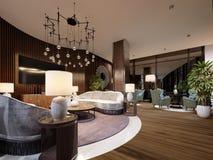 Sehr luxuriöser Sitzbereich in einem modernen Hotel Weißes Designersofa mit Latten auf der Wand mit einem Fernsehen Seitentabelle lizenzfreie abbildung