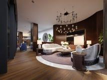 Sehr luxuriöser Sitzbereich in einem modernen Hotel Weißes Designersofa mit Latten auf der Wand mit einem Fernsehen Seitentabelle stock abbildung