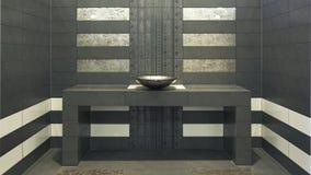 Sehr modernes Symmetriebadezimmer Stockfoto