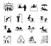 Sehr nützlicher und verwendbarer Satz Ikonen für Aquaparks und -schwimmen Lizenzfreie Stockbilder