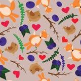 Sehr netter Hintergrund mit Füchsen und Vögeln Stock Abbildung