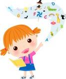 Sehr nettes Buch des kleinen Mädchens Lese Stockfotografie