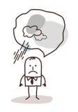 Sehr pessimistischer Karikaturmann Stockfotos