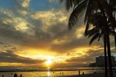 Sehr schöner Sonnenuntergang auf dem Strand in Hawaii mit Palmen Stockfotografie