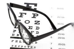 Sehvermögentest mit schwarzen Gläsern und snellen Diagramm Lizenzfreies Stockfoto