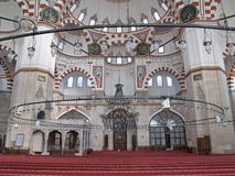 Sehzade mosque in Istanbul, Turkey. Interior of the Sehzade mosque in Istanbul, Turkey royalty free stock photography