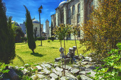 The Sehzade tombs in the Sehzade Mosque garden in Istanbul. Green garden and ancient cemetery next the Sehzade Mosque in Istanbul, Turkey Stock Photos
