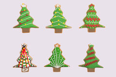 Sei alberi di Natale del pan di zenzero Fotografie Stock