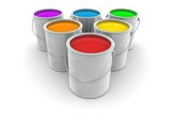 Sei barattoli di pittura colorata Immagini Stock