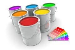 Sei barattoli di pittura ed il campione di colore Immagine Stock Libera da Diritti
