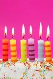 Sei candele di compleanno Fotografia Stock Libera da Diritti