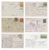 Sei cartoline scritte a mano antiche Fotografia Stock