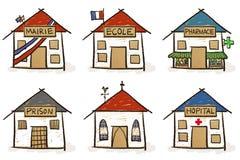 Sei case disegnate a mano illustrazione di stock