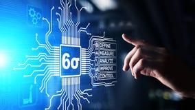 Sei concetti industriali di affari di controllo di qualità di tecnologia dell'innovazione di sigma DMAIC immagine stock