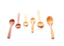 Sei cucchiai di legno Fotografia Stock Libera da Diritti