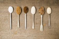 Sei cucchiaini di zucchero Immagine Stock