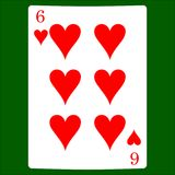 Sei cuori Cardi il vettore dell'icona del vestito, vettore di simboli delle carte da gioco illustrazione di stock