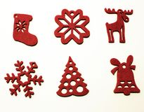 Sei decorazioni per l'albero di Natale Fotografia Stock