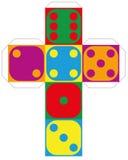 A sei facce variopinto del modello dei dadi illustrazione vettoriale