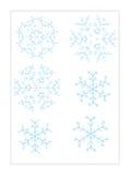 Sei fiocchi di neve Immagini Stock Libere da Diritti