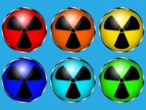 Sei grandi simboli di radiazione con un colpo metallico Fotografia Stock