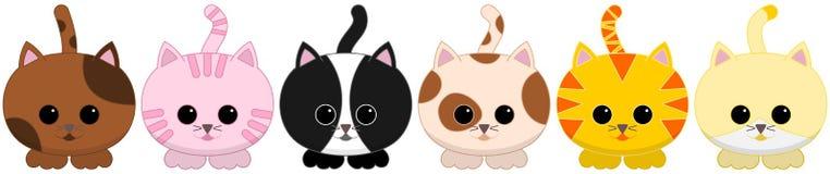 Sei ha piastrellato i piccoli gatti Illustrazione Vettoriale
