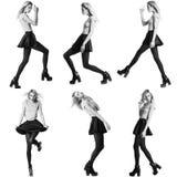 Sei immagini dello stesso modello di moda nelle pose differenti fotografia stock