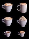 Sei insiemi della tazza di caffè Fotografia Stock Libera da Diritti