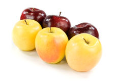 Sei mele su bianco Immagine Stock Libera da Diritti