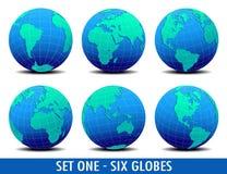 Sei mondi globali - IMPOSTI UNO royalty illustrazione gratis