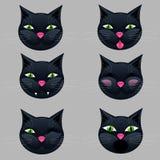 Sei pacchetti dell'icona di emozione dei fronti dei gatti Immagine Stock