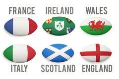 Sei palle di rugby di nazioni illustrazione vettoriale
