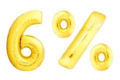 Sei per cento dorati fatti dei palloni gonfiabili Immagine Stock