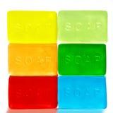 Sei pezzi di sapone brillantemente colorati Immagine Stock Libera da Diritti